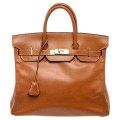 Hermes Brown Leather Birkin 30cm Satchel Bag