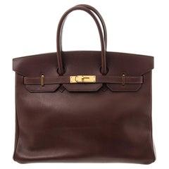 Hermes Brown Leather Birkin 35cm Satchel Bag
