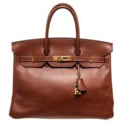 Hermes Brown Leather Birkin 35cm Soulder Bag