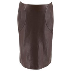 Hermes Brown Leather Fitted Skirt 38 FR