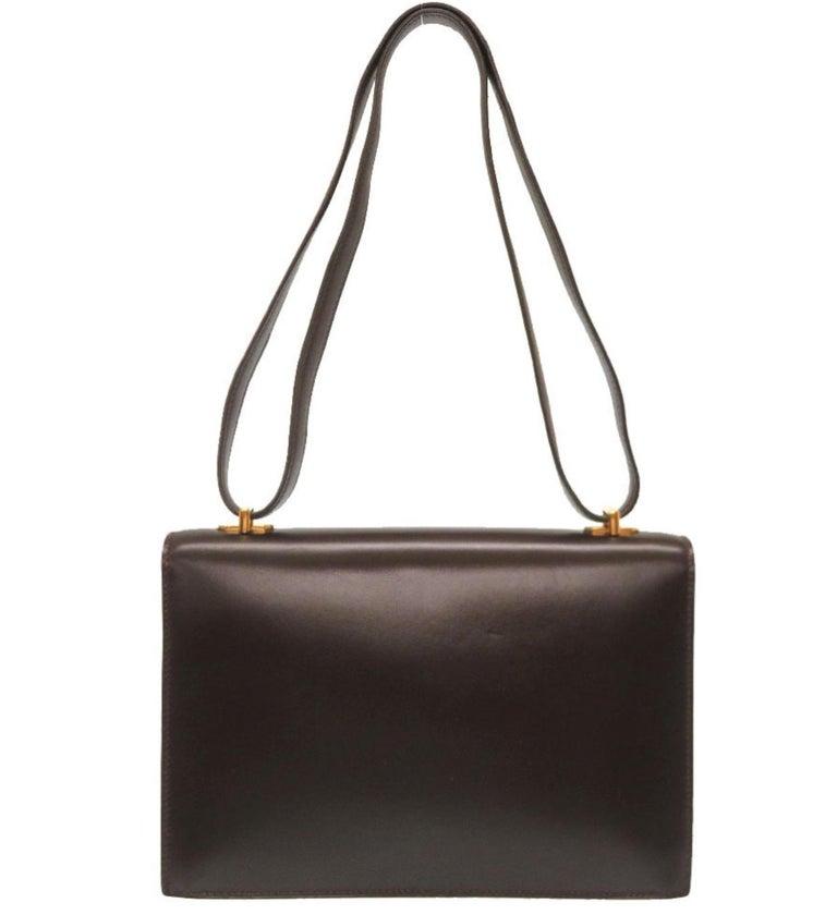 Black Hermes Brown Leather Gold Emblem Evening Top Handle Satchel Shoulder Flap Bag For Sale