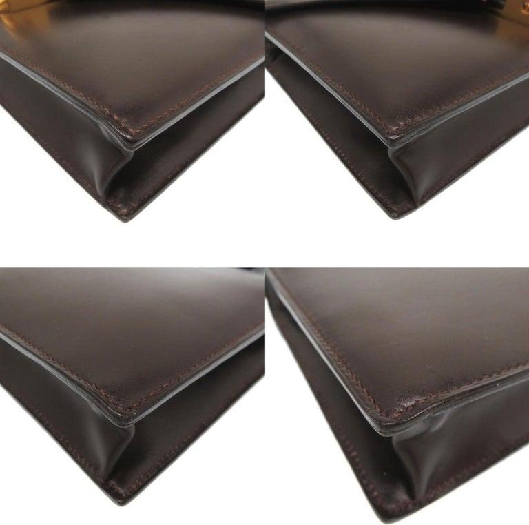 Women's Hermes Brown Leather Gold Emblem Evening Top Handle Satchel Shoulder Flap Bag For Sale