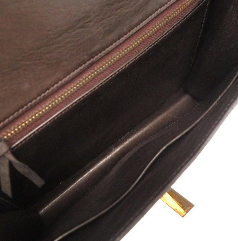 Hermes Brown Leather Gold Emblem Evening Top Handle Satchel Shoulder Flap Bag For Sale 1