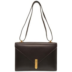 Hermes Brown Leather Gold Emblem Evening Top Handle Satchel Shoulder Flap Bag