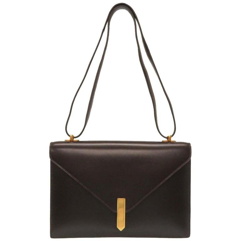 Hermes Brown Leather Gold Emblem Evening Top Handle Satchel Shoulder Flap Bag For Sale