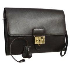 Hermes Brown Leather Gold Flip Lock Wristlet Evening Flap Clutch Bag with Keys