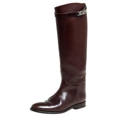 Hermes Brown Leather Jumping Knee Length Boots Size 38