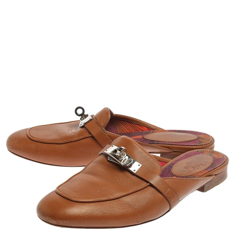 Women's Hermes Brown Leather Leather Palladium Plated Oz Mules Size 36