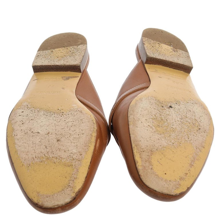 Hermes Brown Leather Leather Palladium Plated Oz Mules Size 36 2