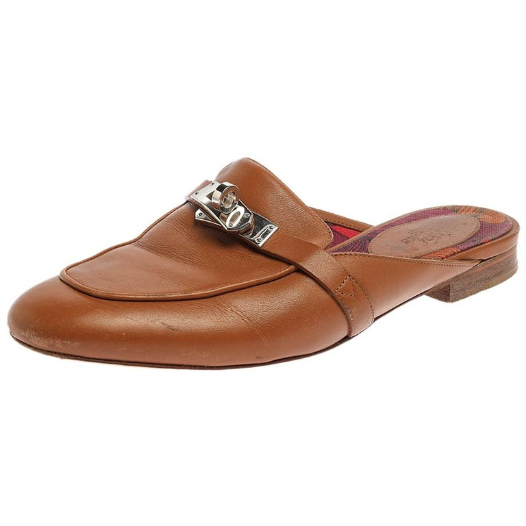 Hermes Brown Leather Leather Palladium Plated Oz Mules Size 36