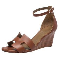 Hermes Brown Leather Legend Ankle Strap Wedge Sandals Size 37