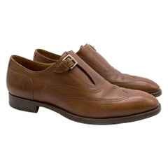 Hermes Brown Leather Monk Brogues SIZE 42