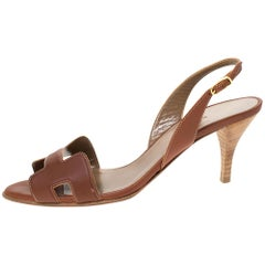 Hermes Brown Leather Night Slingback Sandals Size 37.5