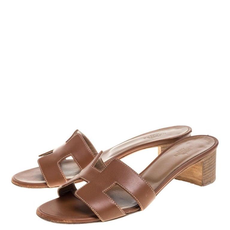 Women's Hermès Brown Leather Oasis Slide Sandals Size 36