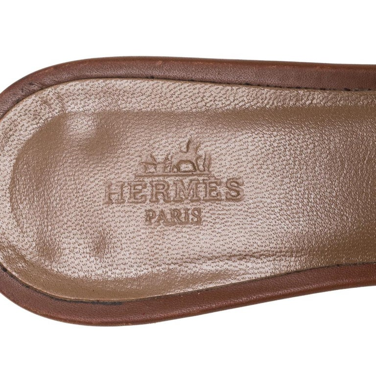 Hermès Brown Leather Oasis Slide Sandals Size 36 1