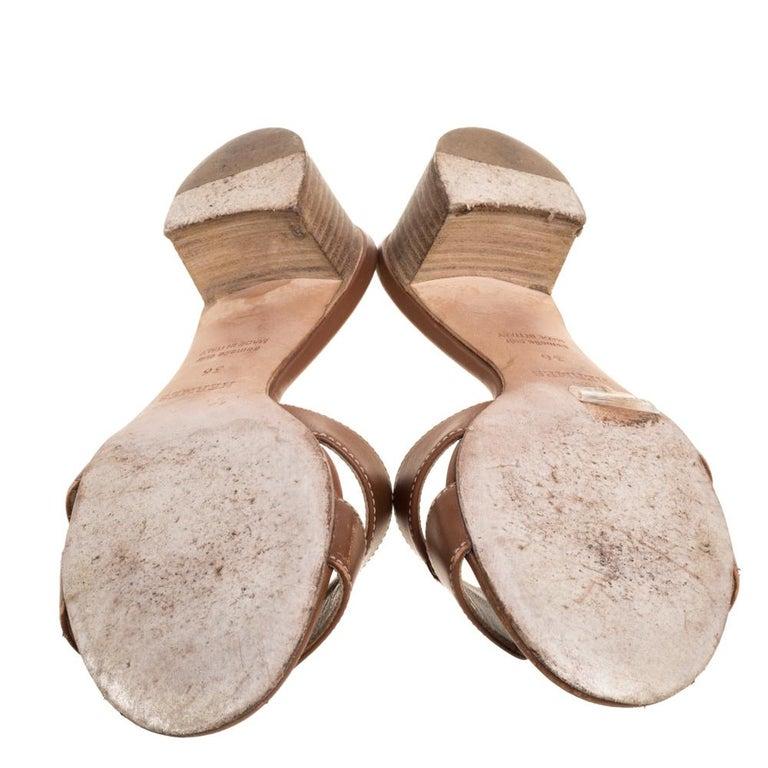 Hermès Brown Leather Oasis Slide Sandals Size 36 2