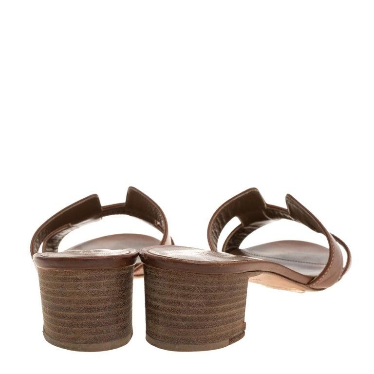 Hermès Brown Leather Oasis Slide Sandals Size 36 3