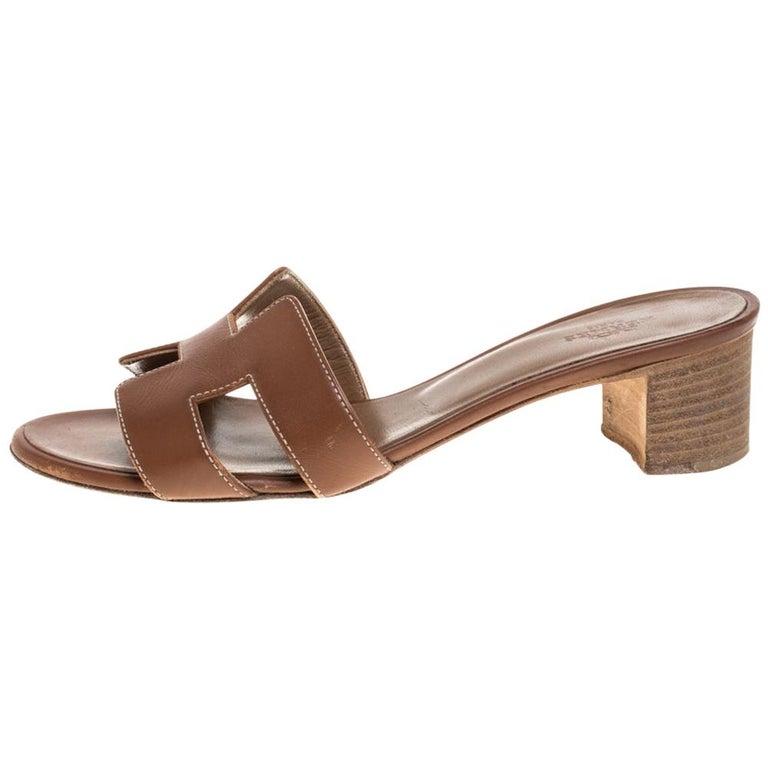 Hermès Brown Leather Oasis Slide Sandals Size 36