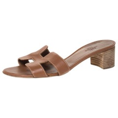 Hermes Brown Leather Oasis Slides Size 35