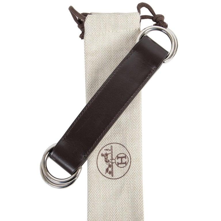 Black Hermès Brown Leather Romance Belt For Sale