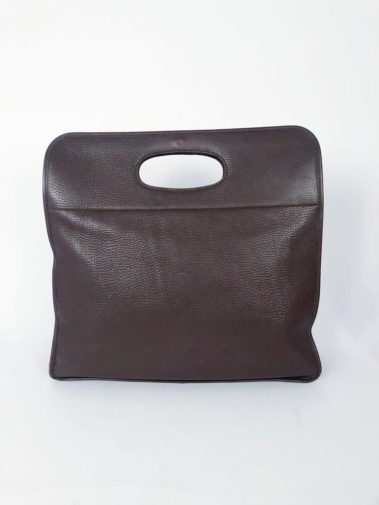 Black Hermès Brown Leather Tote For Sale