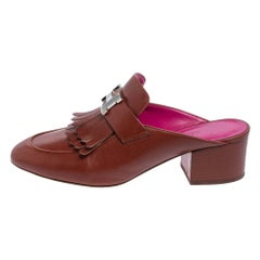 Hermés Brown Leather Tuileries Fringe Mules Size 35