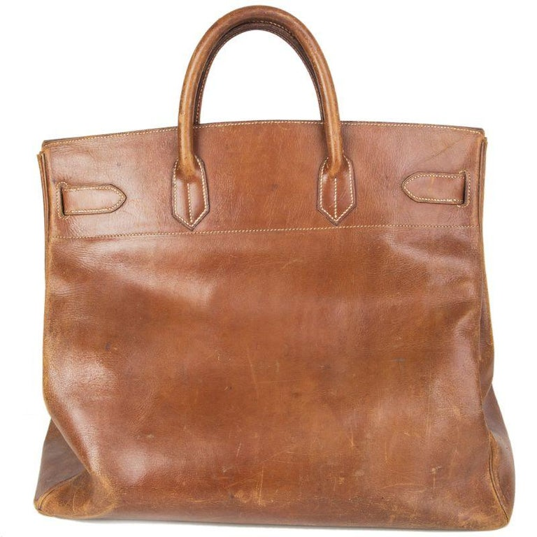 HERMES brown leather VINTAGE HAUT A COURROIES 45 HAC BIRKIN Bag In Fair Condition For Sale In Zürich, CH