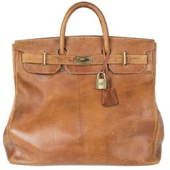 HERMES brown leather VINTAGE HAUT A COURROIES 45 HAC BIRKIN Bag
