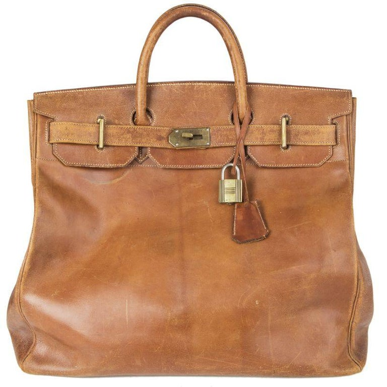 HERMES brown leather VINTAGE HAUT A COURROIES 45 HAC BIRKIN Bag For Sale
