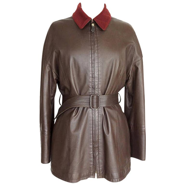Hermes Brown Leather Vintage Jacket Bordeaux Lined Cashmere / Wool 38 / 6 For Sale