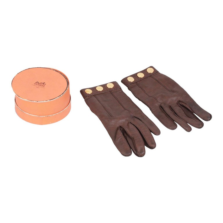 Black Hermes Brown Leather Women Gloves Size 6.5 For Sale