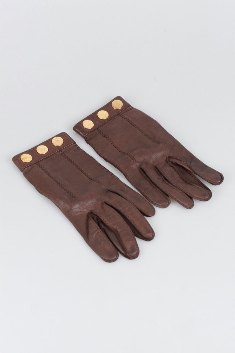 Hermes Brown Leather Women Gloves Size 6.5 In Good Condition For Sale In Rome, Rome