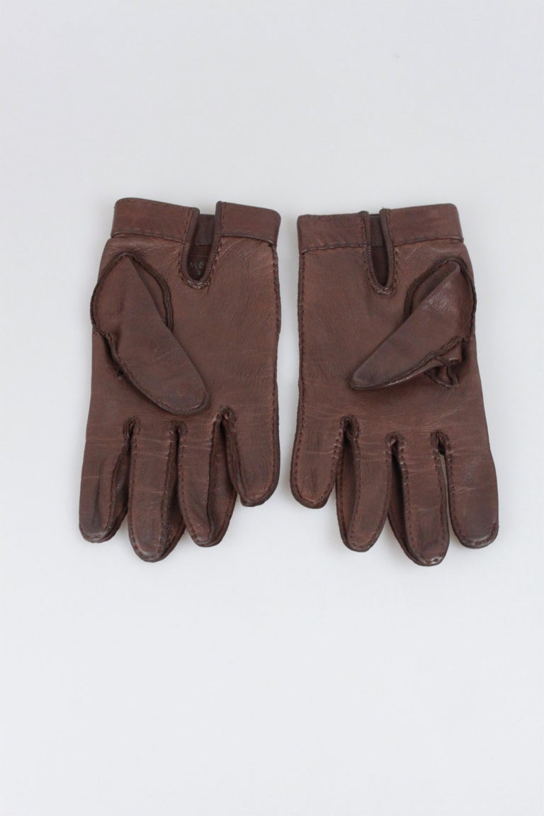 Hermes Brown Leather Women Gloves Size 6.5 For Sale 1