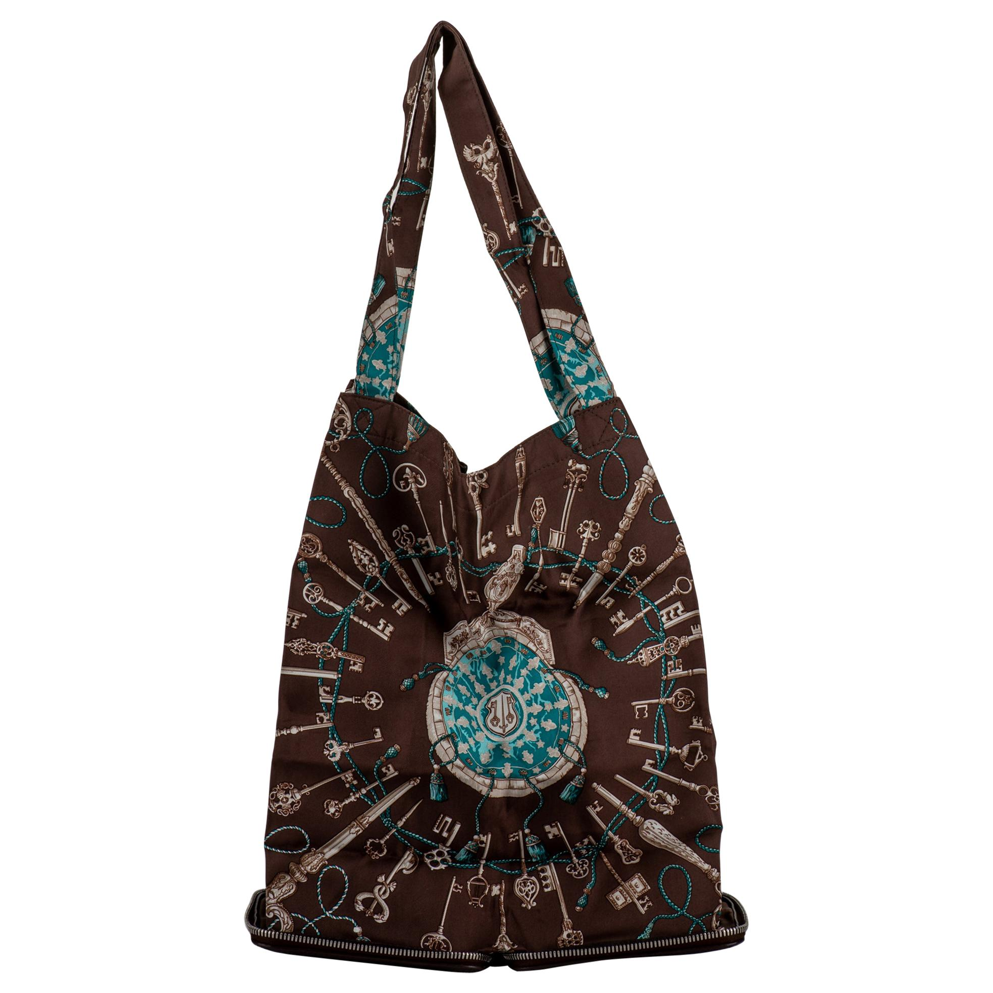 Hermès Brown Les Clefs Silky Pop Bag