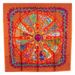 Hermes brown LES PAYS DES EPICES 90 silk twill Scarf