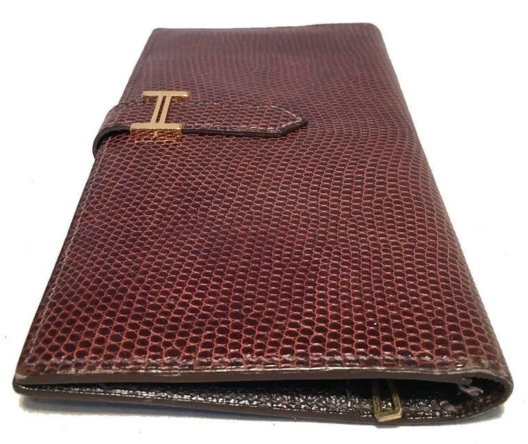 Black Hermes Brown Lizard Leather H Portfolio Wallet For Sale