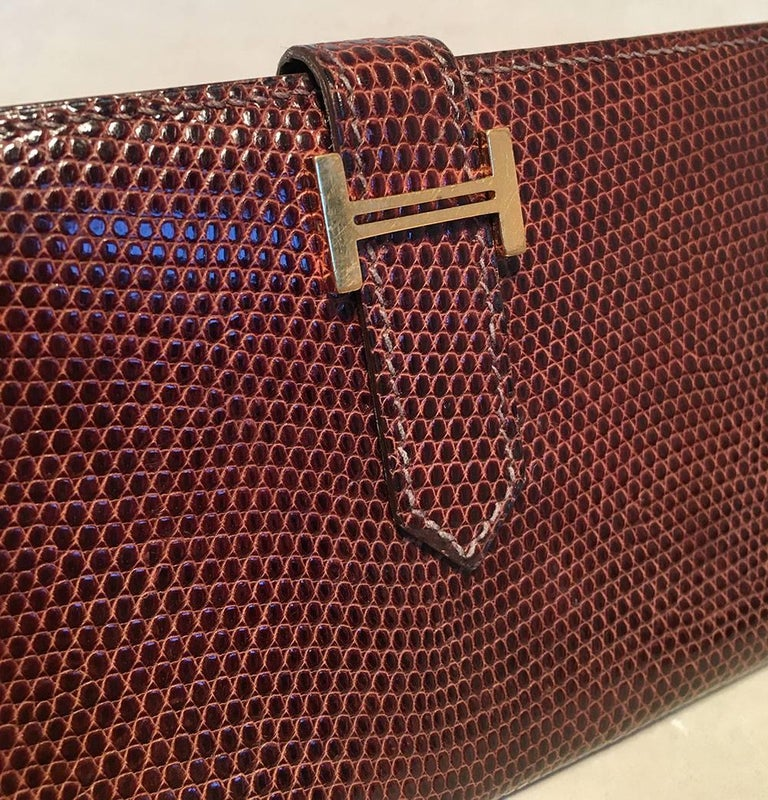 Hermes Brown Lizard Leather H Portfolio Wallet In Excellent Condition For Sale In Philadelphia, PA