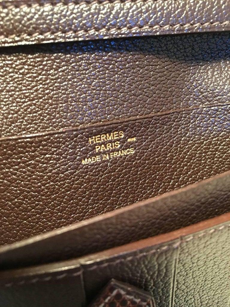 Hermes Brown Lizard Leather H Portfolio Wallet For Sale 1