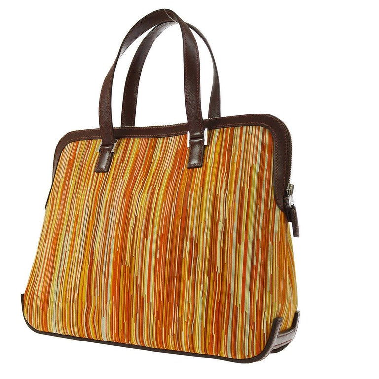 Hermes Brown Multi Color Carryall Bowling Evening Top Handle Satchel Bag  In Good Condition For Sale In Chicago, IL