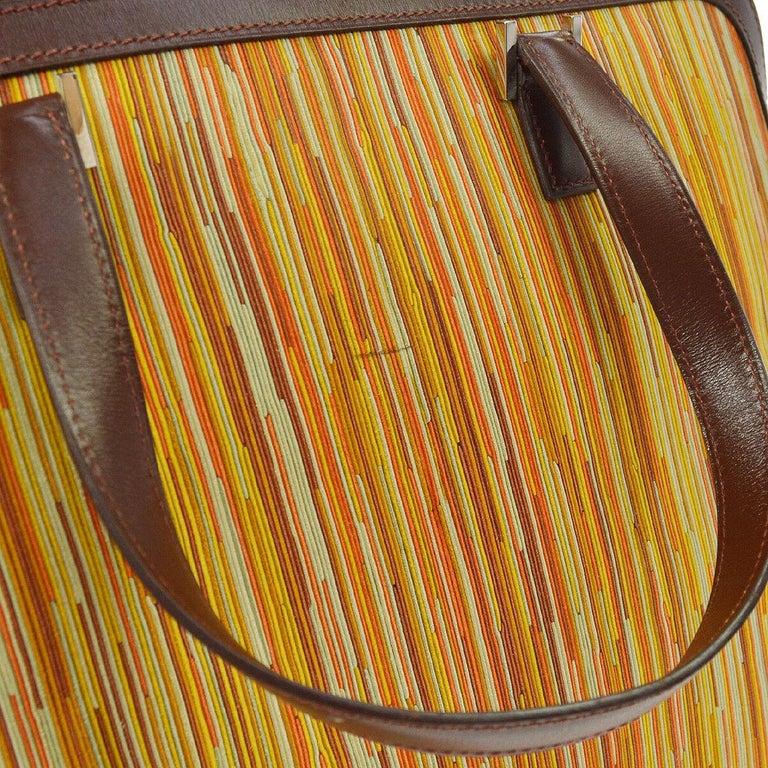 Women's Hermes Brown Multi Color Carryall Bowling Evening Top Handle Satchel Bag  For Sale