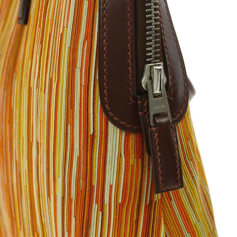 Hermes Brown Multi Color Carryall Bowling Evening Top Handle Satchel Bag  For Sale 1