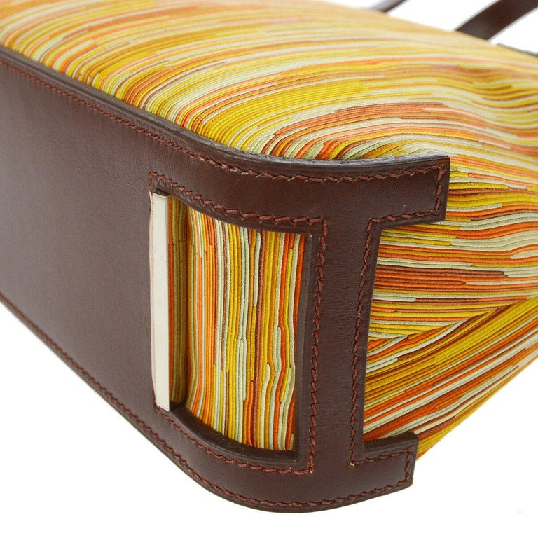 Hermes Brown Multi Color Carryall Bowling Evening Top Handle Satchel Bag  For Sale 3