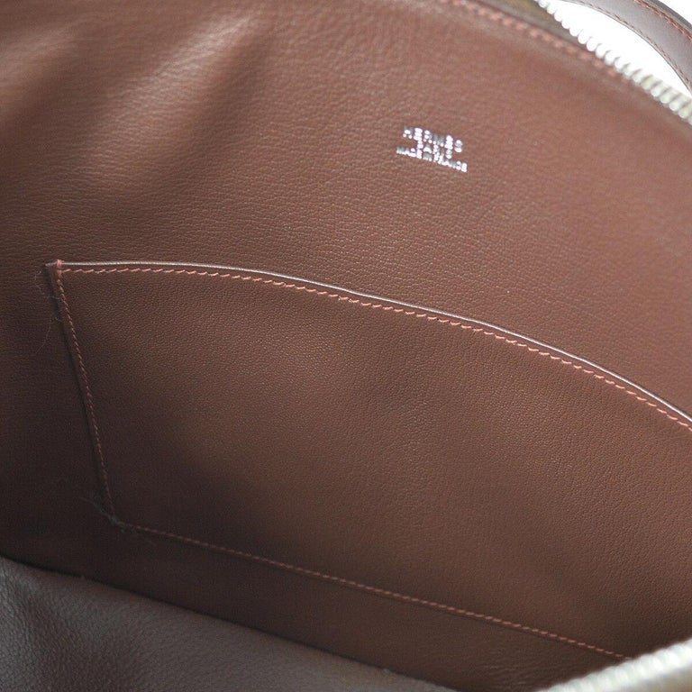Hermes Brown Multi Color Carryall Bowling Evening Top Handle Satchel Bag  For Sale 4