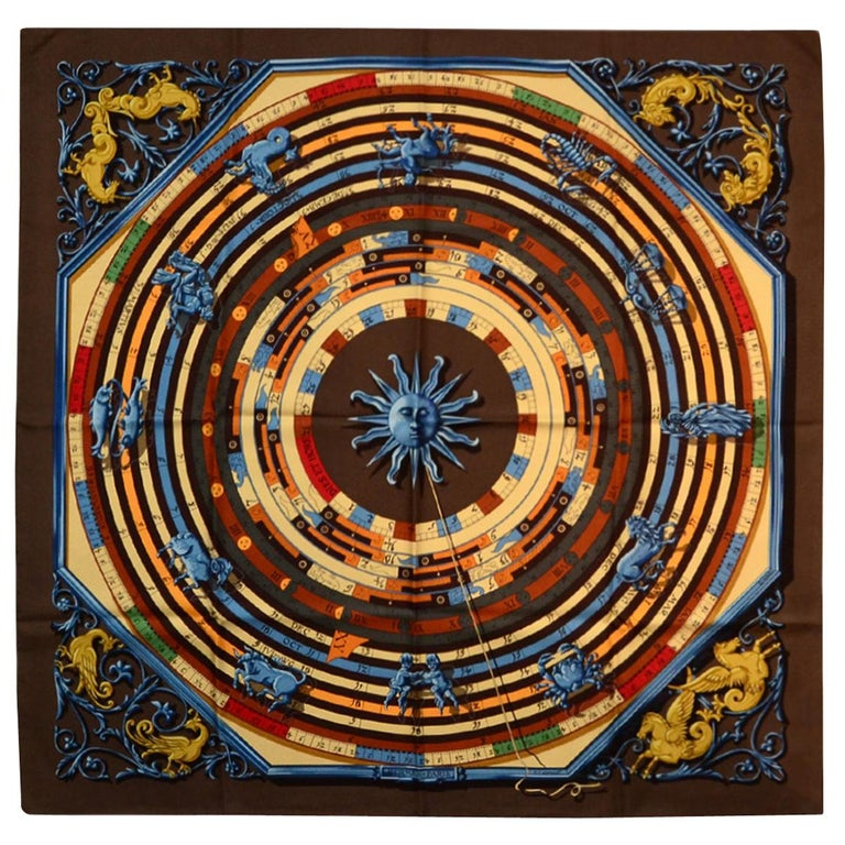 "Hermes Brown/Multi-color Dies et Hore 90cm/36"" Silk Scarf For Sale"