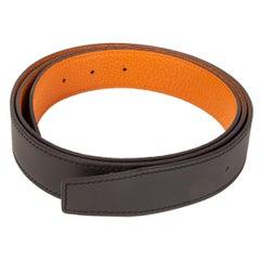 HERMES brown orange 32mm Reversible Belt Strap 80 SOMBRERO / Togo leather