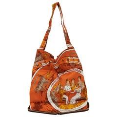 Hermès Brown Orange Silky Pop Print Bag
