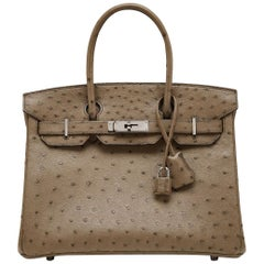 Hermes Brown Ostrich 30cm Birkin Bag