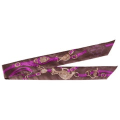 HERMES brown & pink silk BRIDES DE GALA TWILLY Scarf