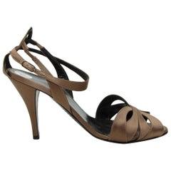 Hermes Brown Satin Cutout Sandals