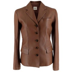 Hermes Brown Soft Leather Single Breasted Tailored Jacket - Size Estimated S